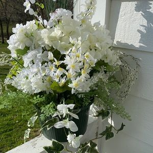 Beautiful White Faux Floral Hanging Basket